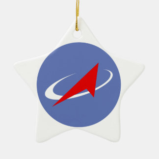 Roscosmos Flight Patch Double-Sided Star Ceramic Christmas Ornament