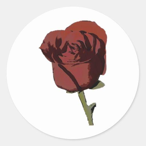 Rose1 Pegatina Redonda