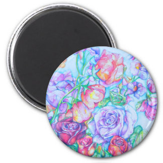 rose4 2 inch round magnet