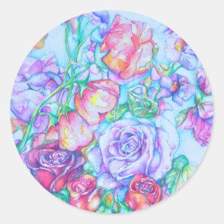rose4 pegatina redonda