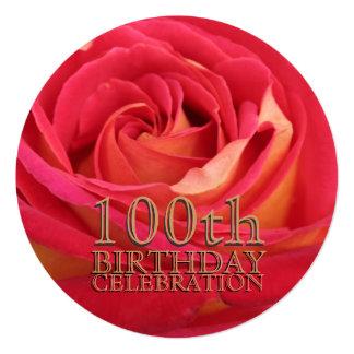 Rose 100th Birthday Celebration Custom Invitation