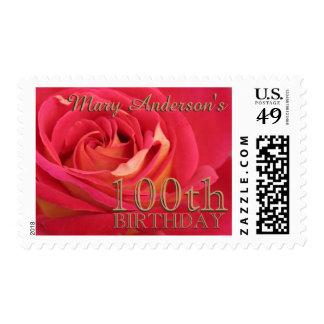 Rose 100th Birthday Celebration Custom Postage