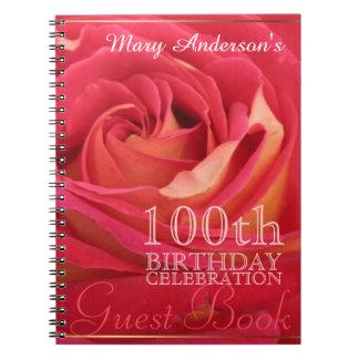 Rose 100th Birthday Celebration Guest book Spiral Notebooks