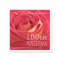 Rose 100th Birthday Celebration Paper Napkin 2