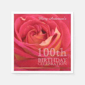 Rose 100th Birthday Celebration Paper Napkins -2-