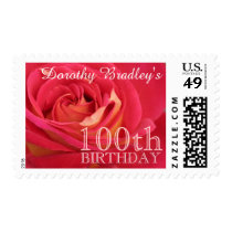Rose 100th Birthday Celebration Personalized Stamp