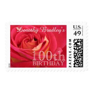 Rose 100th Birthday Celebration Personalized Stamp