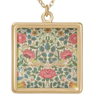'Rose', 1883 (printed cotton) Gold Plated Necklace