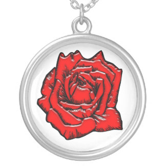 Rose #1 round pendant necklace