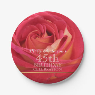 Rose 45th Birthday Celebration Paper plates -2- 7 Inch Paper Plate