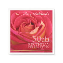 Rose 50th Birthday Celebration Paper Napkins 2