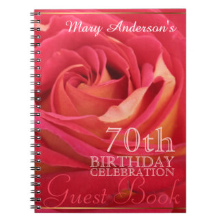 Rose 70th Birthday Celebration Custom Guest Book Notebook