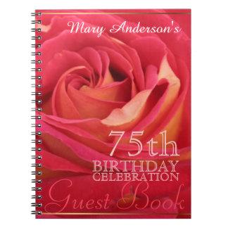 Rose 75th Birthday Celebration Custom Guest Book