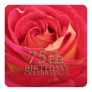 "Rose 75th Birthday Celebration Custom Invitation 5.25"" Square Invitation Card"