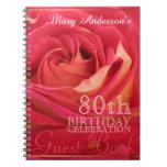 Rose 80th Birthday Celebration Custom Guest Book Notebook