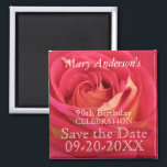 """Rose 90th Birthday Celebrate Save the date magnet<br><div class=""""desc"""">Floral Photography with a slight blur for adding softness to the picture. Customizable Save the Date magnet. You can easily change text (color,  font,  size and position) by clicking the personalize or customize button. Matching products Birthday guest book,  postage and postcard.</div>"""