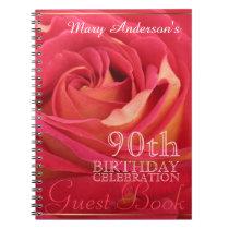 Rose 90th Birthday Celebration Custom Guest Book