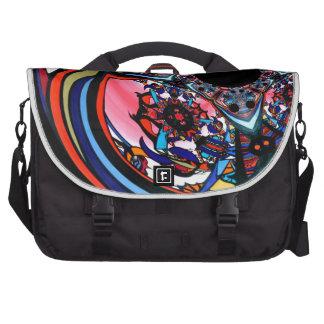 Rose abstract floral art Red Black Blue Commuter Bag