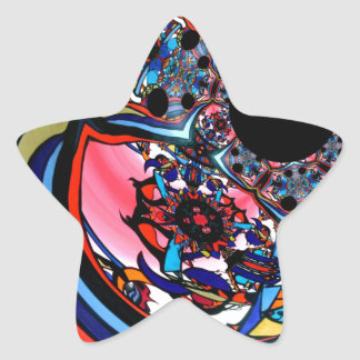 Rose abstract floral art Red Black Blue Star Sticker