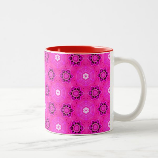 Rose Abstract Floral Modern Hexagon Quilt Two-Tone Coffee Mug