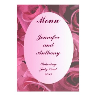Rose Abstract Wedding Menu Announcements