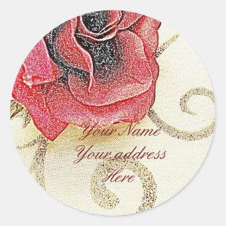 Rose Address Lables Classic Round Sticker