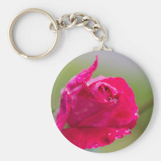 rose after the rain in the garden keychain