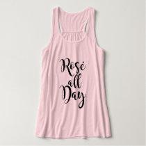 Rosé All Day   Black Script Tank Top