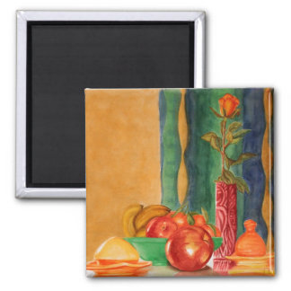 rose and apples still life magnets