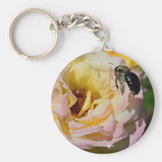 Rose And Bee Flower Photo Keychain Keyring
