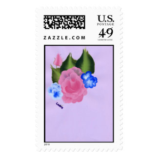 Rose and blue flowers stamps