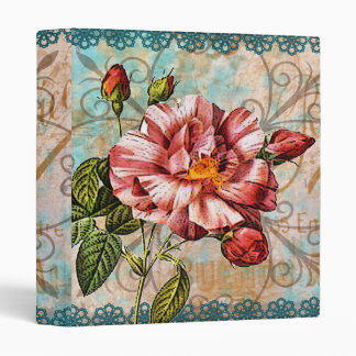 Rose and Blue Lace 3 Ring Binder