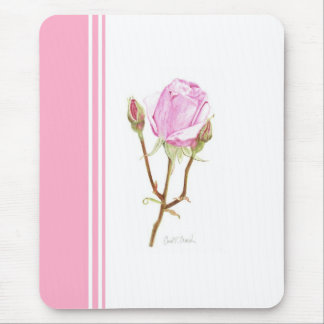 Rose and Buds with Pink Stripe Mouse Pad