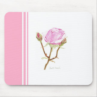 Rose and Buds with Pink Stripe Mouse Pads