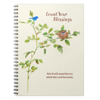Rose and Bunting Gratitude Spiral Notebook