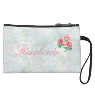 rose and butterflies suede wristlet wallet