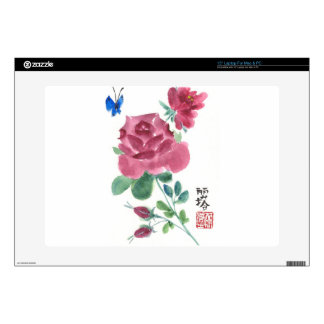 Rose and butterfly laptop skin