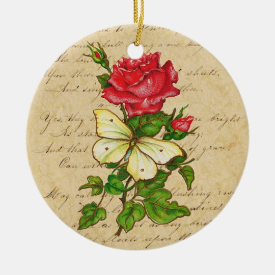 Rose and Butterfly Ornament