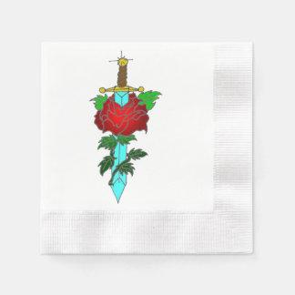 Rose and Dagger Tattoo Design Paper Napkin