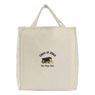 Rose and Diploma Grad Embroidered Tote Bag