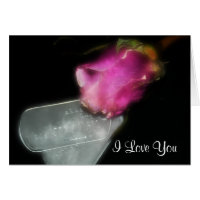 Rose and dog tags greeting card