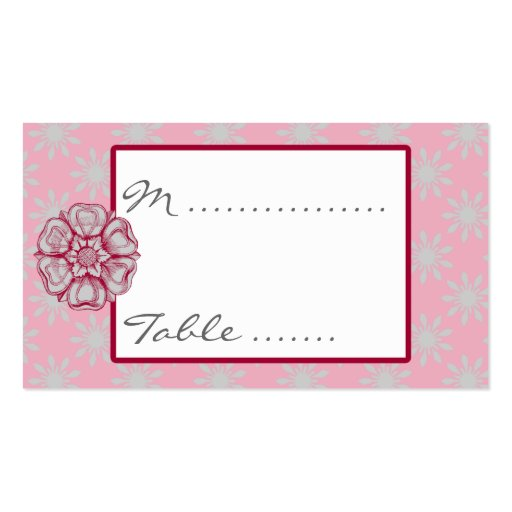 Rose And Dove Grey Wedding Reception Seating Card Business Card Zazzle