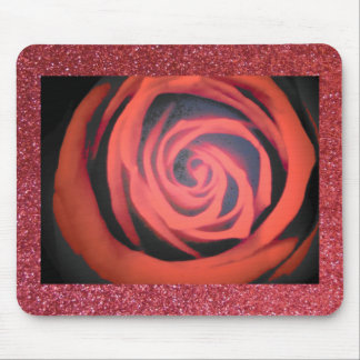 Rose and glitter mouse pad