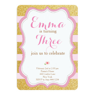 Rose and Gold First Birthday Invitation