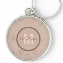 Rose and Gold Leaf Print Monogram Keychain