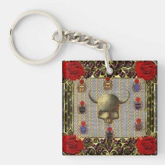 Rose and Golden Skull Keychain