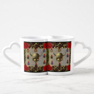 Rose and Golden Skull Lovers Mug Set