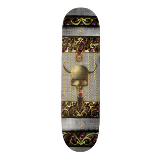Rose and Golden Skull Skateboard