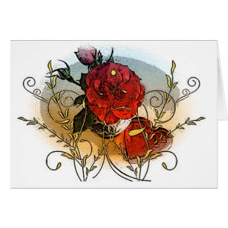 Rose and Heart Blank Greeting Card