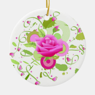 Rose and hearts ceramic ornament